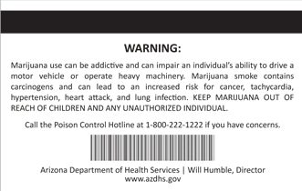 Sample Arizona Medical Marijuana ID card from Arizona Department of Health Services - Back side