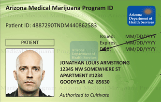 Sample Arizona Medical Marijuana ID card from Arizona Department of Health Services - Front side